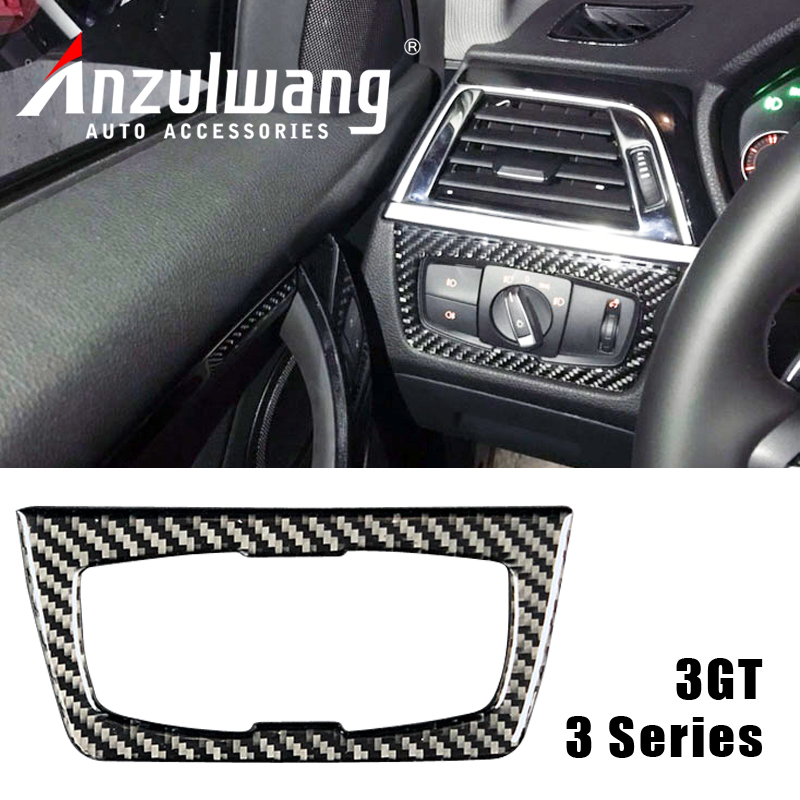 Carbon Fiber for BMW F30 F34 Car Styling Headlight Switch Buttons Decorative Frame Cover Trim Dashboard Interior Molding Sticker