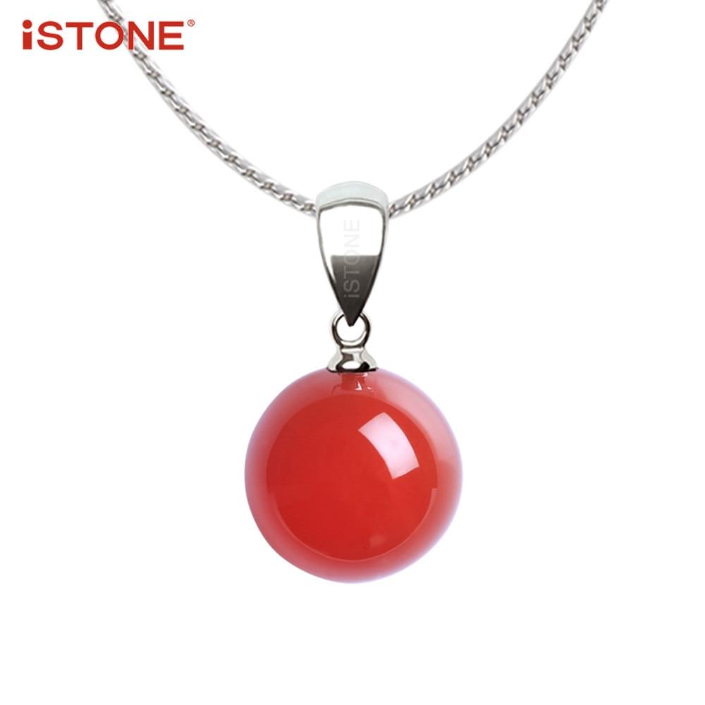 iSTONE Természetes gemstone kerek gyöngy függő nyaklánc finom - Finom ékszerek