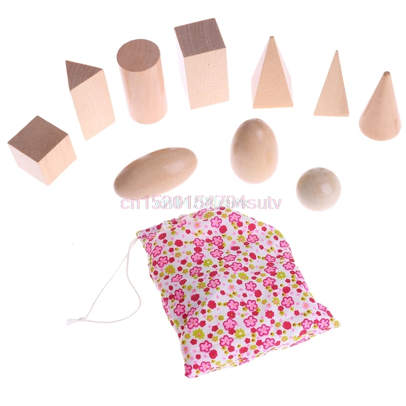 10Pcs Wooden Geometric Solids Shapes Learning Resources Cognitive Toys+Bag New #H055# ...