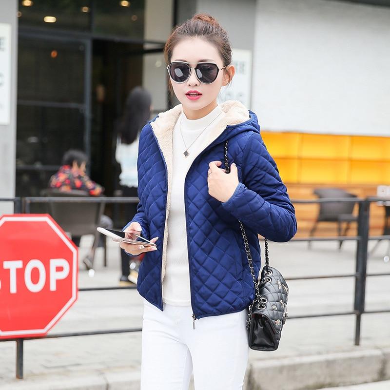 Danjeaner Winter Coat Women Solid Slim Hooded Basic Jackets Female Plus Size Thick Lamb Cotton Jackets Windbreaker Streetwear