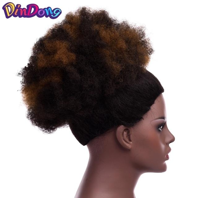 DinDong bollo sintético Chignon Pelo Rizado Cola de Caballo corto Afro rizado abrigo lazo Puff cola de Pony extensiones de cabello