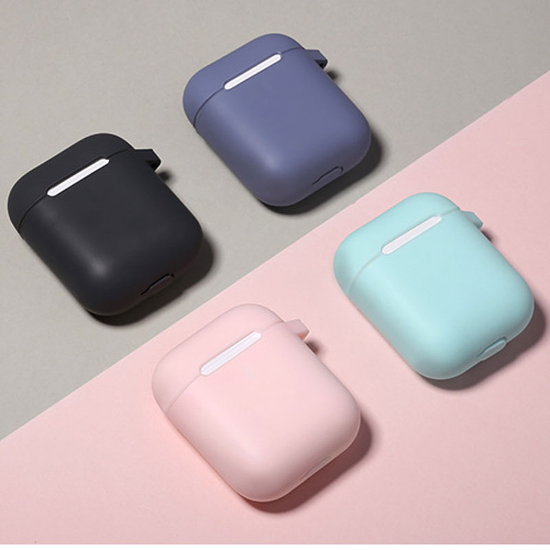 Solid Silicone Case Cover For Apple Airpods 2 With Hook Bluetooth Headphone Charging Holder Bag Box For Airpods Accessories in Earphone Accessories from Consumer Electronics
