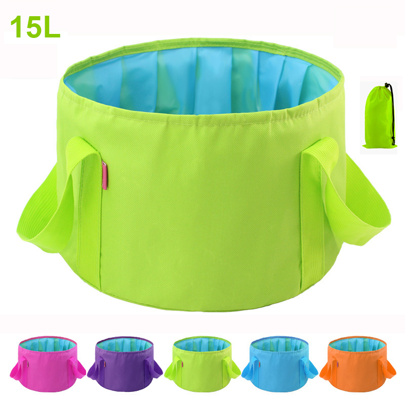 15L Foldable Collapsible Water Bags Basin Outdoor Hygiene Travel Camping Washbasin Portable Fishing Bucket(Gift Storage Bag)