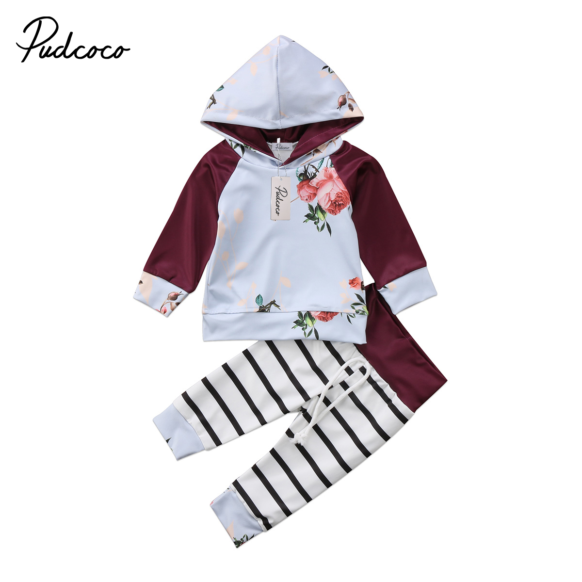 2pcs Spring Autumn Newborn Kids Baby Boy Girl Floral Tops Hoodie Sweatshirt Tops+Striped Pants Baby Home Outfit Clothes Set 0-2T