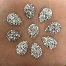 (80 peças/lote) forma de gota de resina ab de 10mm * 14mm, botões de decoração de casamento com parte traseira reta d551, 10mm * 14mm