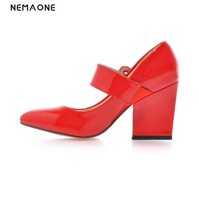 Nemaone sexy cuero patend Tacones altos nueva plataforma Bombas punta  estrecha Square Tacones boda Zapatos mujer 572a32a91347