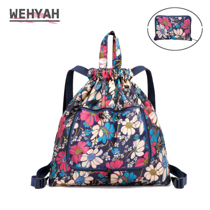 Wehyah Drawstring Backpack Pouch Printed Foldable Nylon Shopping Bags for Women Drawstring Bags Storage Bagpack School