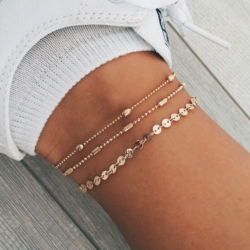 JCYMONG New 3 Layer Beads Sequin Chain Anklets For Women Fashion Gold Silver Color Ankle Bracelet on the leg Beach Foot Jewelry
