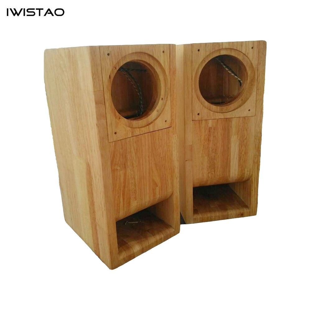 IWISTAO HIFI 4 pouces gamme complète haut-parleur vide armoire 1 paire fini bois Structure labyrinthe pour amplificateur de Tube