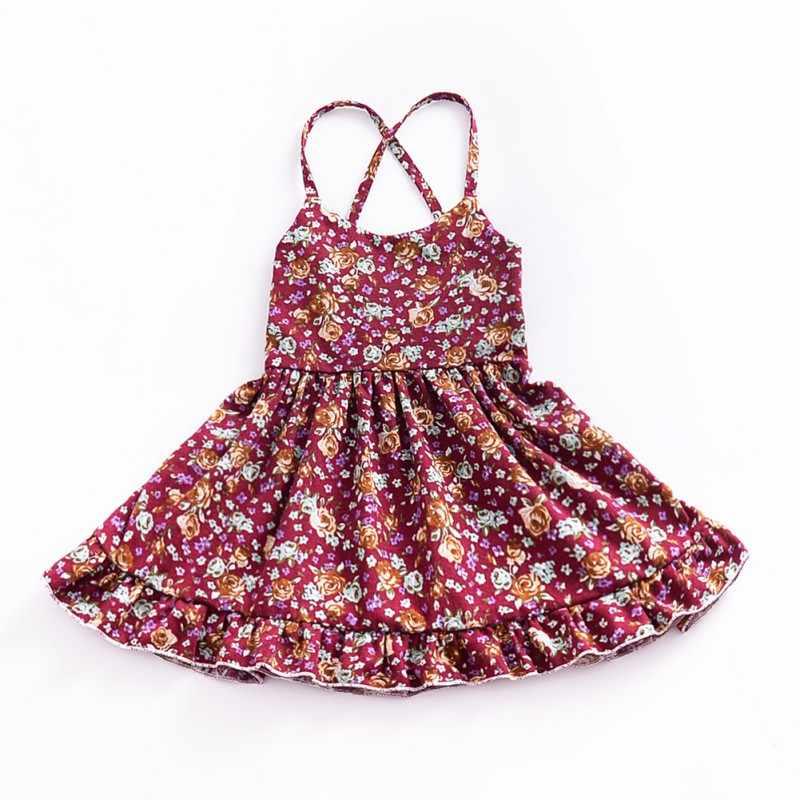 夏固体花子供ドレス幼児女の子ドレスノースリーブプリンセスホルターストラップ花ドレス最新