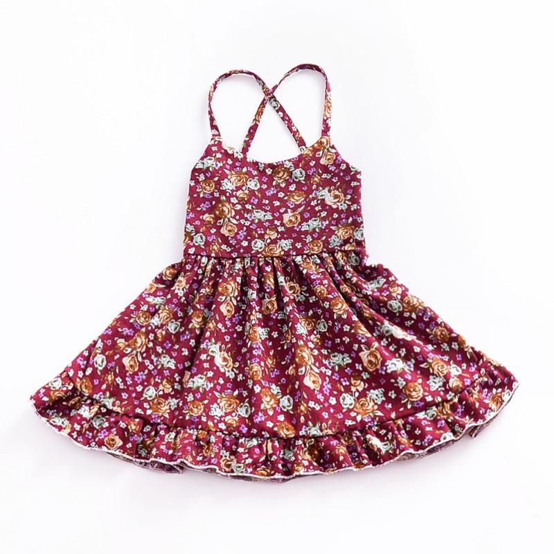 Summer Solid Floral Baby Children Dress Toddler Baby Girls Dress Sleeveless Princess Party Halter Strap Floral Dress 2018 Newest