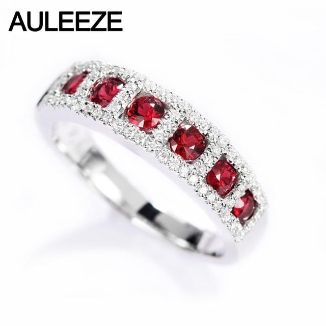 2ecda004cce5 AULEEZE Real 18 k oro blanco diamante anillo 0.65ct rubí Natural Diamante  de mujer