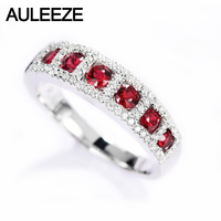 AULEEZE Real 18k White Gold Ruby Diamond ring 0.65ct Natural Ruby Diamond Female Ring Gemstone Jewelry
