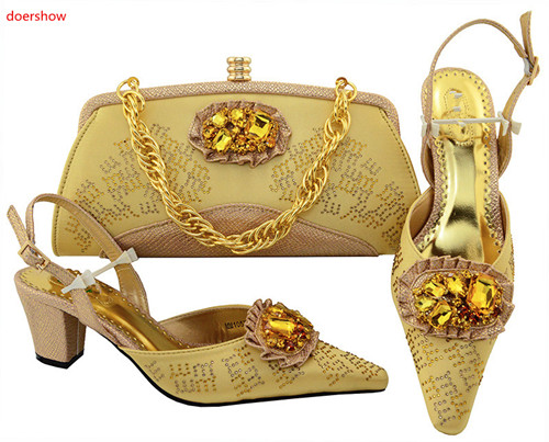 doershow gold frican Italian Shoes and Bag Set Woman Italian Shoes and Bags Set Nigerian Women Wedding Shoes and Bag Set HVP1-16 doershow new arrival royal blue color italian ladies shoes and bags set for sales in women matching shoes and bag set hvp1 12 page 4