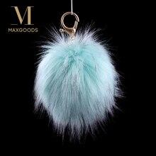 c14c97e8f5 10 Colors New Fluffy Large 13cm Faux Fox Fur PomPom Ball Car Handbag  Pendant Keychain Key