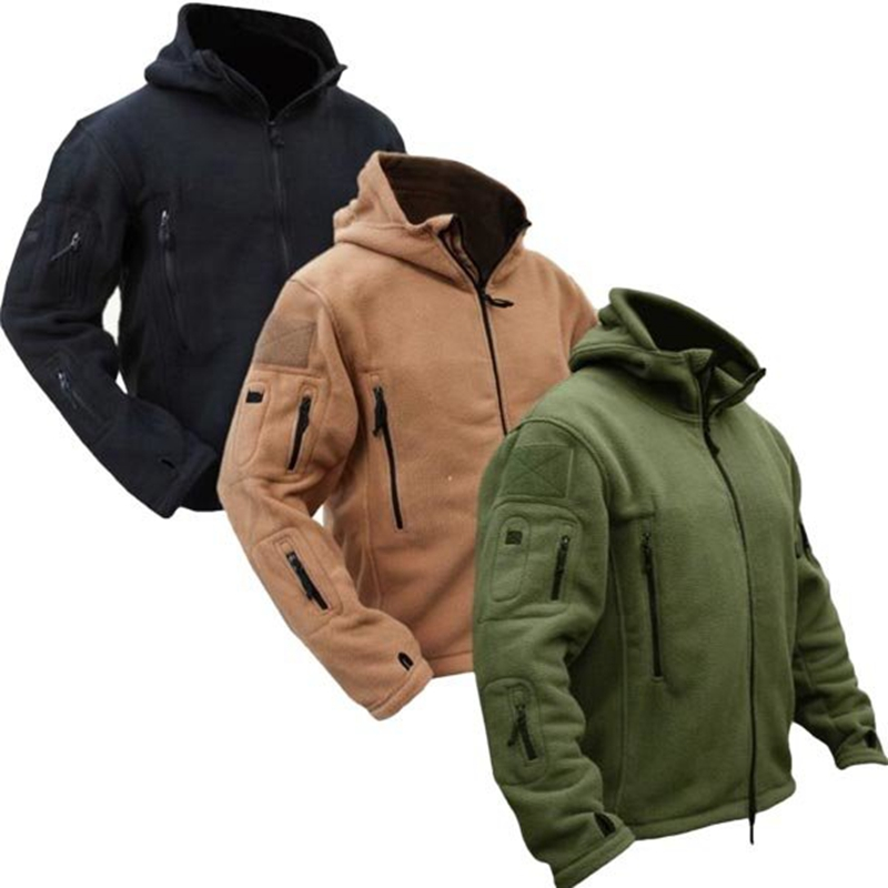 Herre Tactical Military Winter Fleece Hooded Jacket Softshell Jacket Polartec Outerwear Army Clothes