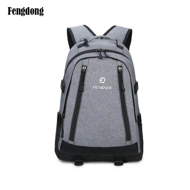 Grey School Backpack Men Bag High Backpacks For Boys Male Notebook 13 14