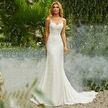 לורי בת ים חתונת שמלת וינטג O צוואר אפליקציות חוף הכלה שמלת שיפון נסיכת Boho חתונת שמלת משלוח חינם 2019