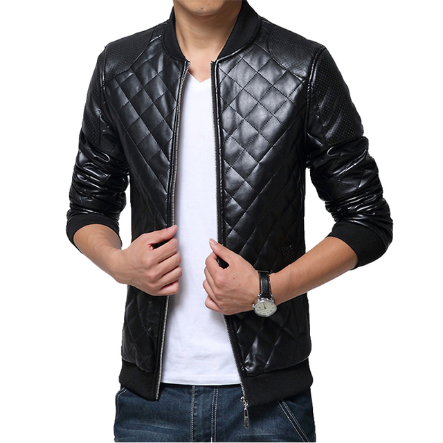 2016 New Fashion Leather Jacket Men Tracksuit Casual Slim Fit PU Motorcycle Bomber Jacket Bape Men Brand Clothing Leather Coat