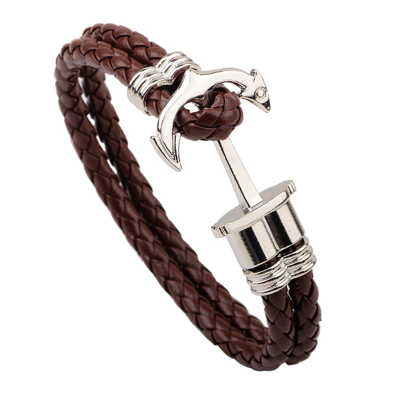 Byspt New Fashion Charm Leather Anchor Bracelets For Men Por Bangle Handmade Brown Hooks Bracelet In Bangles From Jewelry