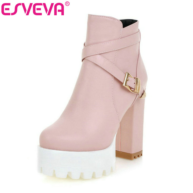 ESVEVA Punk Shoes Women Cute Pink Boots Square High Heel Zipper Rivets Ankle Boots Fashion Platform Ladies Boots Big Size 34-43 esveva 2016 metal color punk autumn shoes women square high heel ankle boots round toe ladies platform fashion boots size 34 43