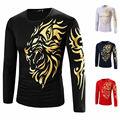 Camiseta Ocasional de los hombres Slim Fit camisa de cuello Redondo de Manga Larga de compresión Tatuaje Golden Tiger Print Tee Otoño Primavera Superior masculina 21