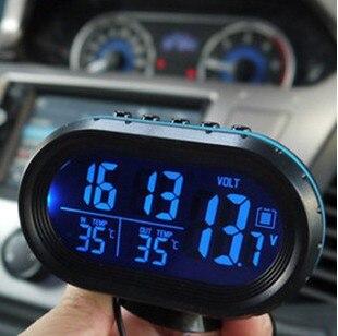 Termómetro electrónico del reloj del coche 12 V-24 V digital car reloj de dos co