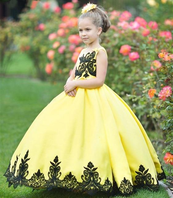 Yellow fluffy flower girl dress with black appliques lace children yellow fluffy flower girl dress with black appliques lace children wedding party gowns custom any size mightylinksfo