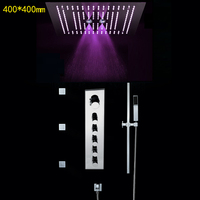 Rainfall Bathroom Shower Set Accessories 304 SUS LED Shower Panel Misty Curtain Rain Thermostatic Shower Mixer With Sliding Bar