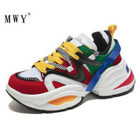 MWY Breathable Mixed Colors Shoes Woman Flats Zapatos Mocasines De Mujer Casual Shoes Woman Sneakers Thick Bottom Shoes Woman