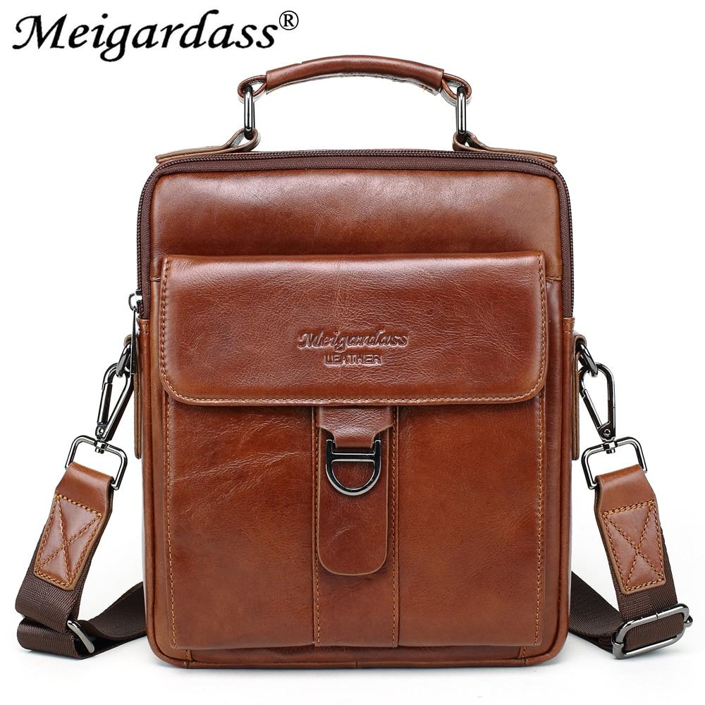 купить MEIGARDASS Genuine Leather Messenger Bag Mens Shoulder Bag Business Briefcase Male iPad Tablet Handbag Crossbody Bags bolsa 2018 онлайн