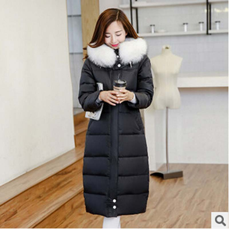 new 2016 winter warm thick Luxury fur collar X-Long down jacket women Slim Hooded plus size white duck down jacket Coat AE779