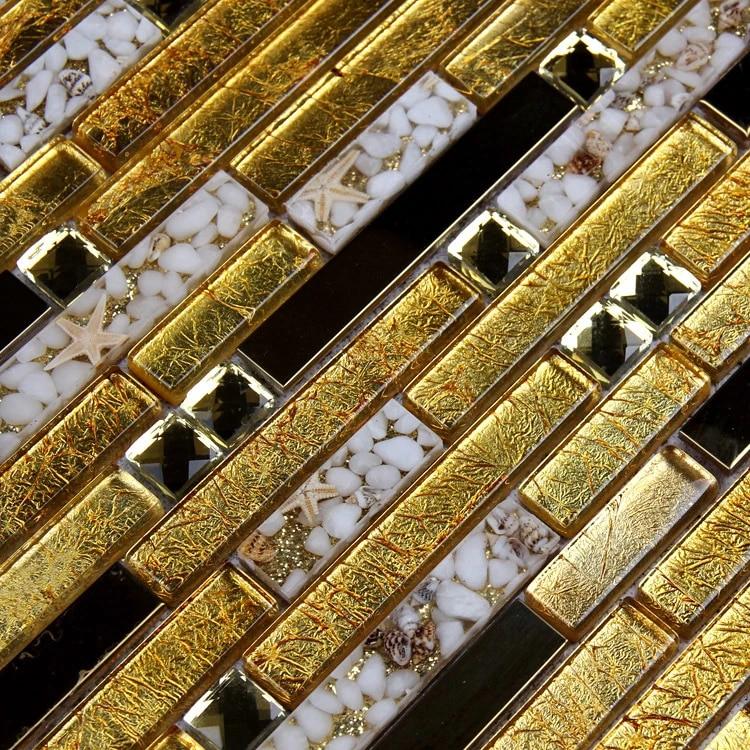 carrelage de mosaique de luxe en acier inoxydable couleur doree et brillante verre melange et coquille pour la cuisine la salle de bain la douche