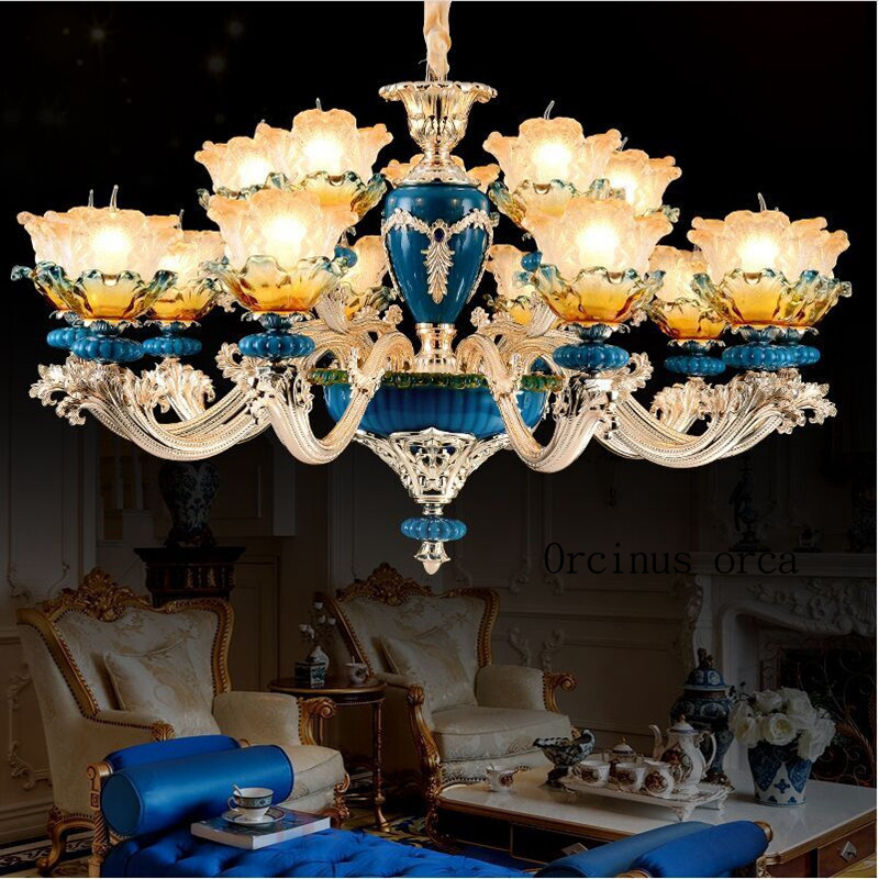 French ceramic painting chandelier living room dining room bedroom retro atmosphere European style luxury crystal chandelier european style luxury retro chandelier living room mediterranean style rural glass chandelier free shipping
