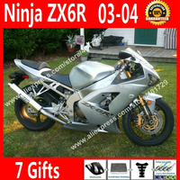 Free custom Fairings for Kawasaki 2003 2004 ZX6R 03 04 Ninja 636 Silvery OEM fairing part 7 Gift VN34