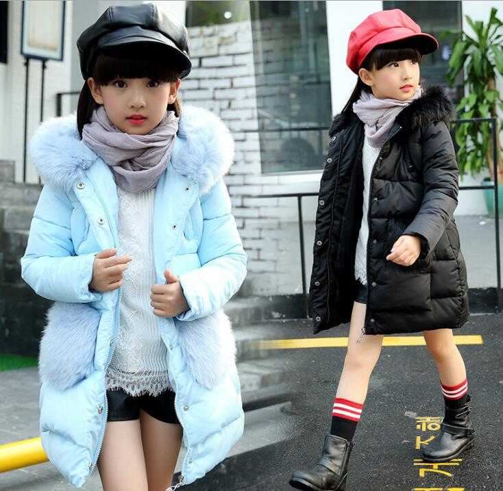 Children girl winter Parka Down Coats girls winter coat Thick Warm Fur Hooded Cotton-Padded Warm Jacket Kids Clothes Outwears children s clothing girls winter down jacket 2018 baby kids long fur hooded thick outerwear toddler girl warm padded cotton coat