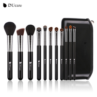 DUcare New Professional Makeup Brush Set 11pcs High Quality Makeup Tools Kit With Top Leather Bag
