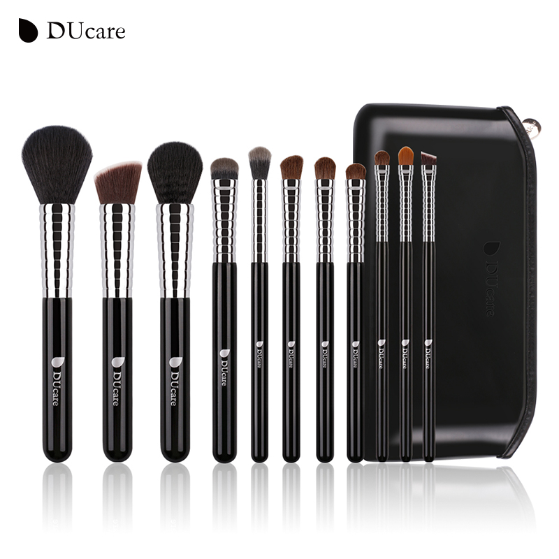 DUcare New Professional Makeup Brush Set 11pcs High Quality Makeup Tools Kit with Top Leather Bag Copper Ferrule top quality copper ferrule makeup brushes 26 pcs professional makeup brush set black pinceaux maquillage with leather bag q02