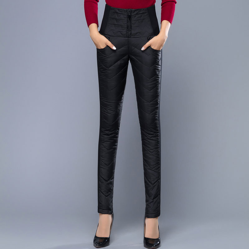 Winter Women Down Pants High Waist Pencil Formal Trousers ...