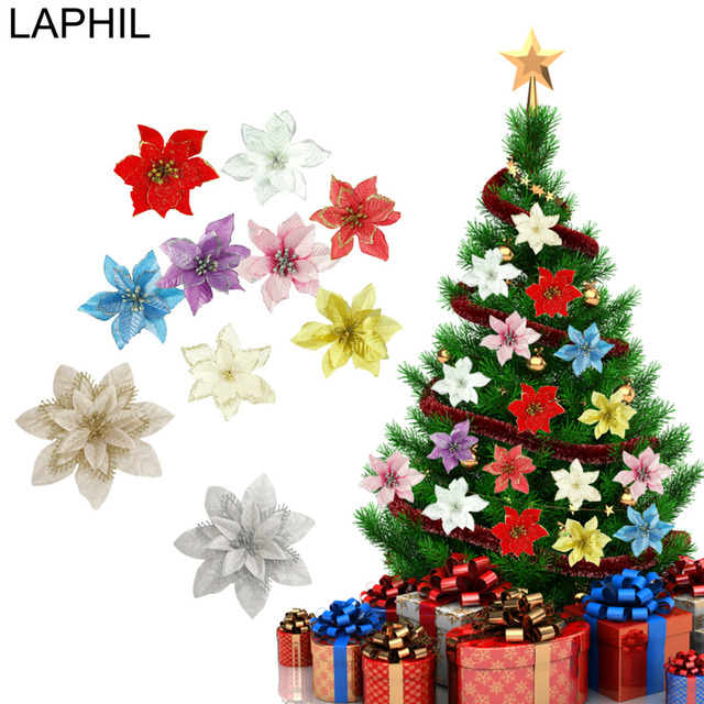 Pointsetta Christmas Tree.Us 1 51 19 Off Laphil 5pcs Gold Silver Poinsettia Christmas Artificial Flower Christmas Tree Ornaments Red Poinsettia Flower Wedding Decoration In