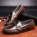 3 Цветов Телячьей Кожи Кожа Случайные Пряжки Комфорт SLIP-ON Loafer Мужчины Лодка Обувь Бизнес Обувь