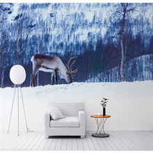 Customized 3d wallpaper Nordic style elk forest beautiful TV sofa background wall painting high-grade waterproof material