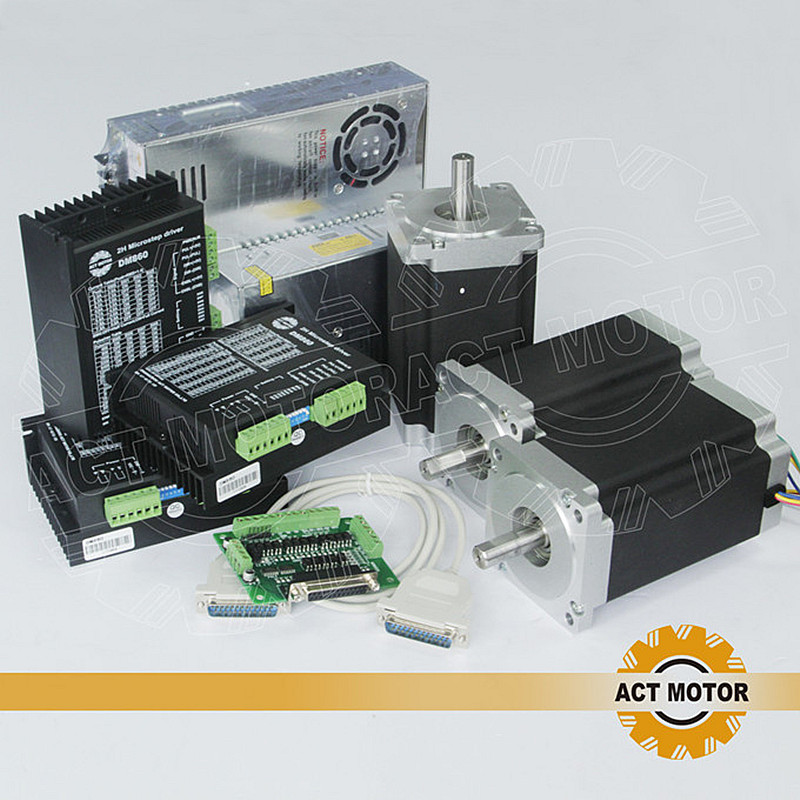 ACT CNC Router 3Axis Nema34 Stepper Motor 34HS5460 Single Shaft 1700oz 151mm 6A 3PCS Driver DM860