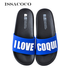 ISSACOCO Women Slippers Home Summer Couple Non-slip Slides Bathroom Sandals Upper Letter Shoes Pantuflas
