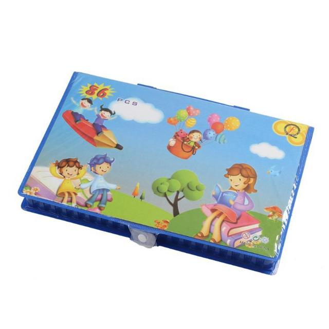 86PCS Set Children's Painting Gifts Student Stationery Box Art Learning Watercolor Pen Brush Stationery SetLearning & Education