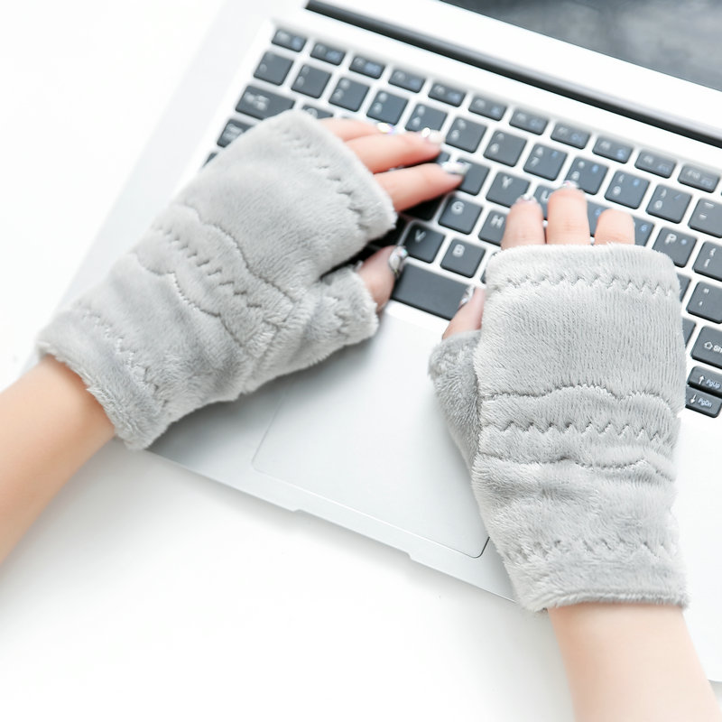 Winter Warm Type Exposed Finger Womens Cute Gloves Winter -9386