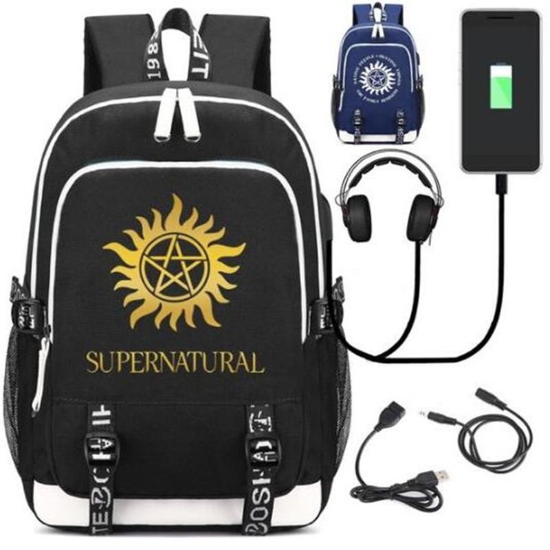 Hot Play Supernatural SPN Fans Rucksack Backpack Bag W/USB Charging Port/ Lock /Headphone Travel Laptop Students School Bag Gift