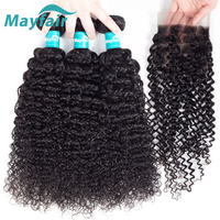 Mayfair Human Hair Bundles With Closure Brazilian Hair Weave Bundles Curly Natural Hair Remy Free Part 4x4 Swiss Lace Closure