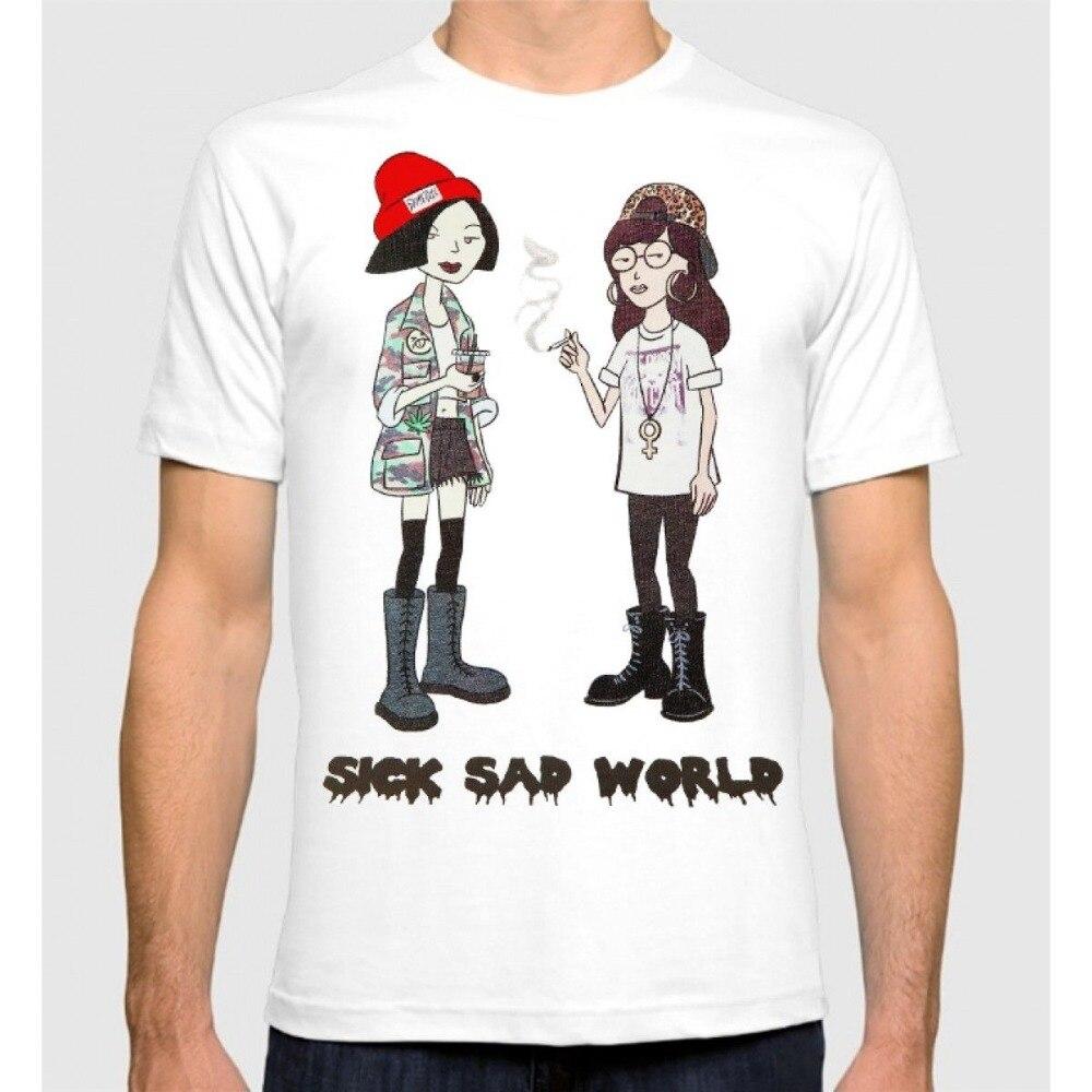 Harajuku New Daria T-Shirt Sick Sad World Mens Tee Funny Printing T Shirts Men Short Sleeve T-Shirts
