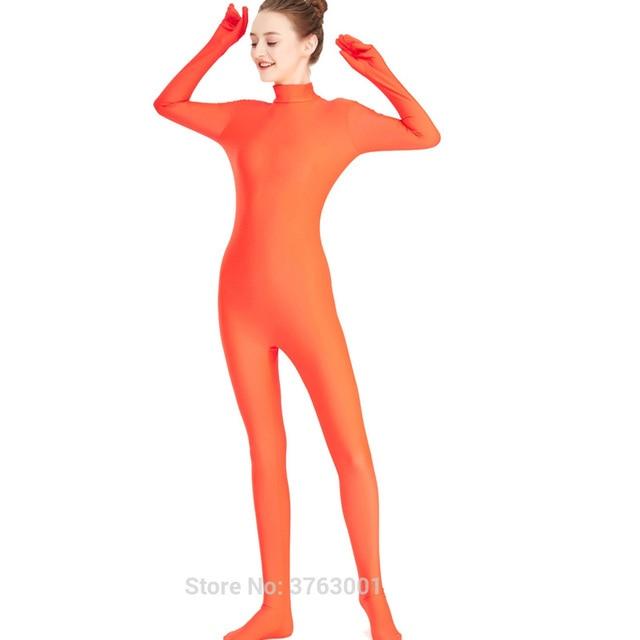 4b05f466655 Women Full Body Leotard Footed Unitard Lycra Spandex Bodysuit Zentai Sexy High  Neck Disco Dance Lady Catsuit Halloween Jumpsuit